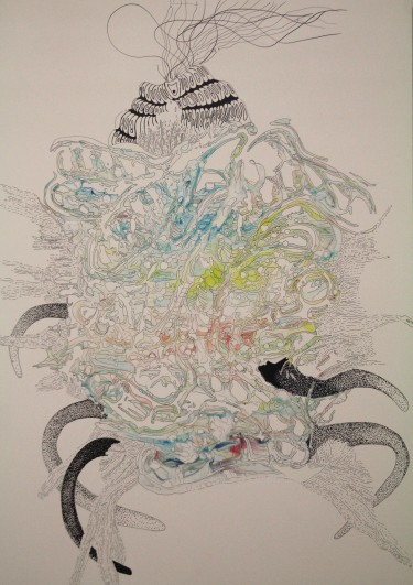Untitled, 2016, 18x24 shaving cream, food coloring and ink